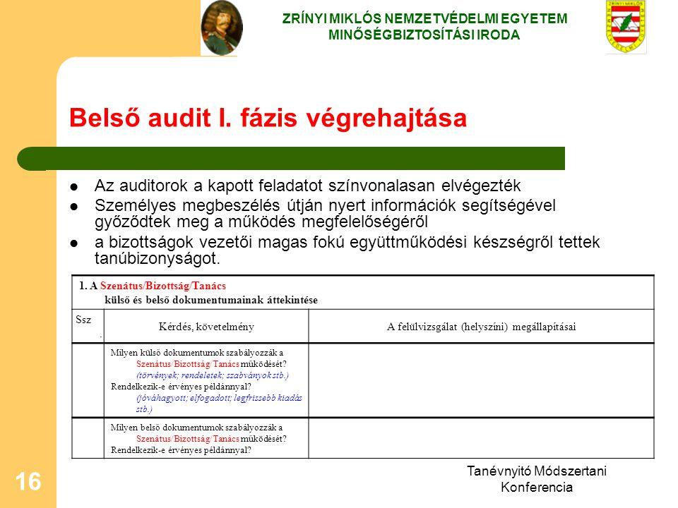 Tanévnyitó Módszertani Konferencia 16 Belső audit I. fázis végrehajtása Az auditorok a kapott feladatot színvonalasan elvégezték Személyes megbeszélés