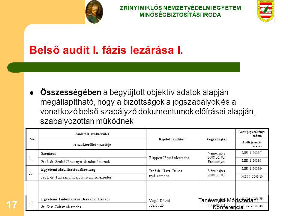Tanévnyitó Módszertani Konferencia 17 Belső audit I. fázis lezárása I. Összességében a begyűjtött objektív adatok alapján megállapítható, hogy a bizot