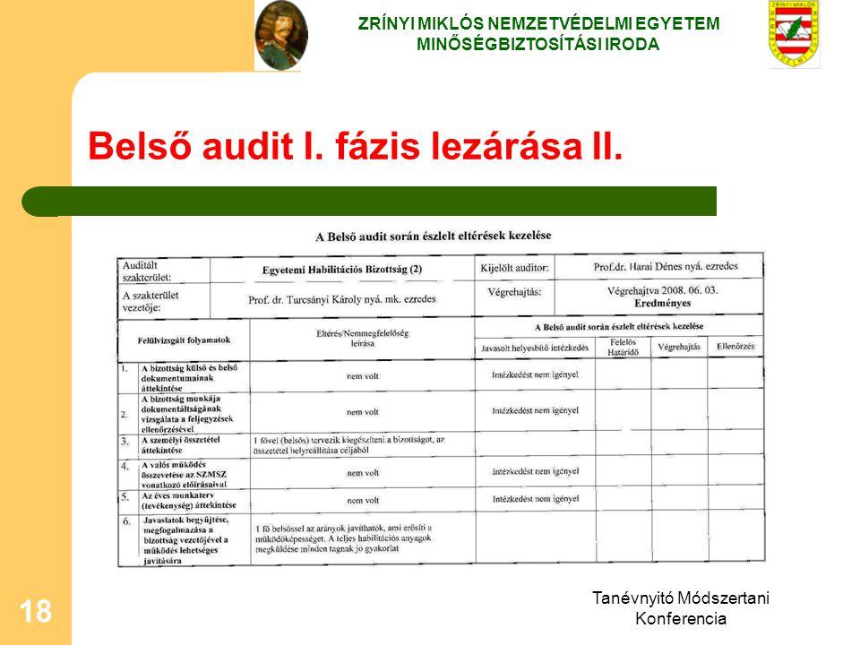 Tanévnyitó Módszertani Konferencia 18 Belső audit I. fázis lezárása II. ZRÍNYI MIKLÓS NEMZETVÉDELMI EGYETEM MINŐSÉGBIZTOSÍTÁSI IRODA