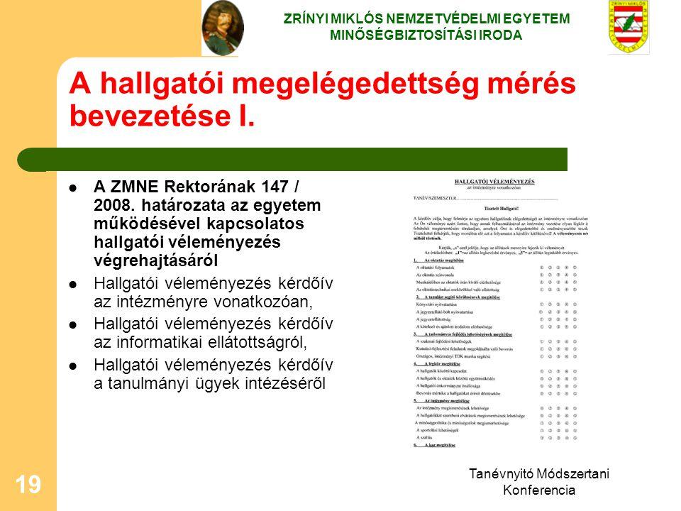 Tanévnyitó Módszertani Konferencia 19 A hallgatói megelégedettség mérés bevezetése I. A ZMNE Rektorának 147 / 2008. határozata az egyetem működésével