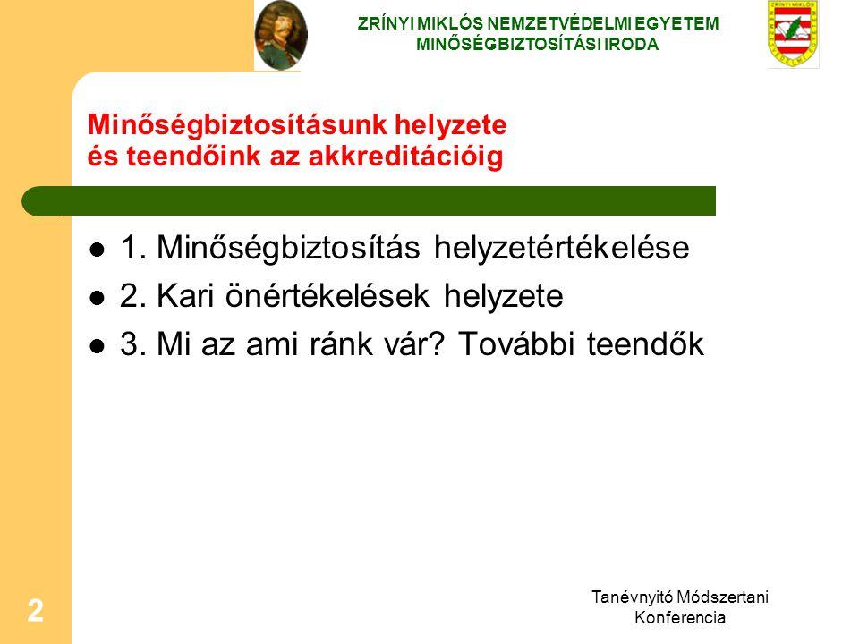 Tanévnyitó Módszertani Konferencia 2 Minőségbiztosításunk helyzete és teendőink az akkreditációig 1. Minőségbiztosítás helyzetértékelése 2. Kari önért