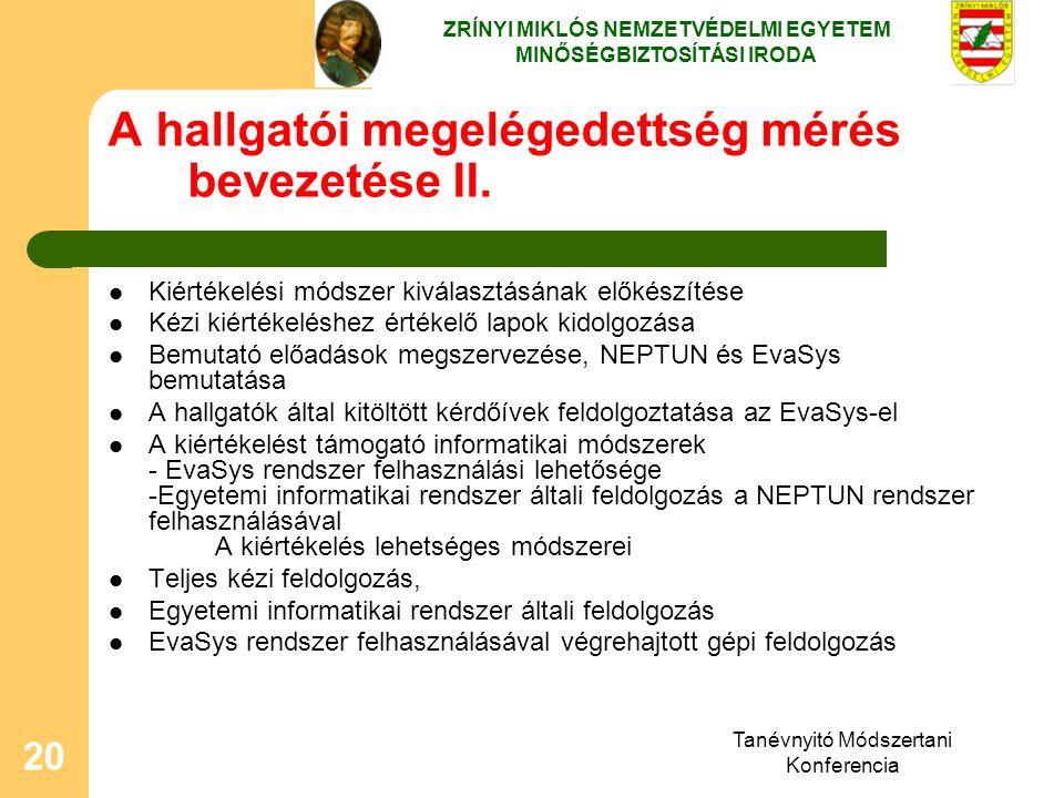 Tanévnyitó Módszertani Konferencia 20 A hallgatói megelégedettség mérés bevezetése II. Kiértékelési módszer kiválasztásának előkészítése Kézi kiértéke