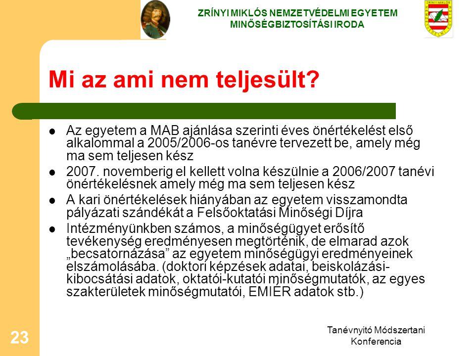 Tanévnyitó Módszertani Konferencia 23 Mi az ami nem teljesült? Az egyetem a MAB ajánlása szerinti éves önértékelést első alkalommal a 2005/2006-os tan