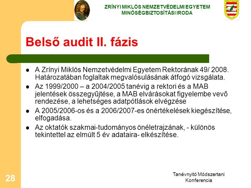 Tanévnyitó Módszertani Konferencia 28 Belső audit II. fázis A Zrínyi Miklós Nemzetvédelmi Egyetem Rektorának 49/ 2008. Határozatában foglaltak megvaló