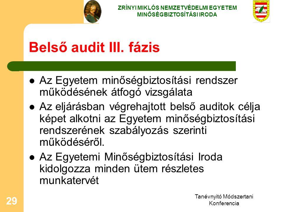 Tanévnyitó Módszertani Konferencia 29 Belső audit III. fázis Az Egyetem minőségbiztosítási rendszer működésének átfogó vizsgálata Az eljárásban végreh