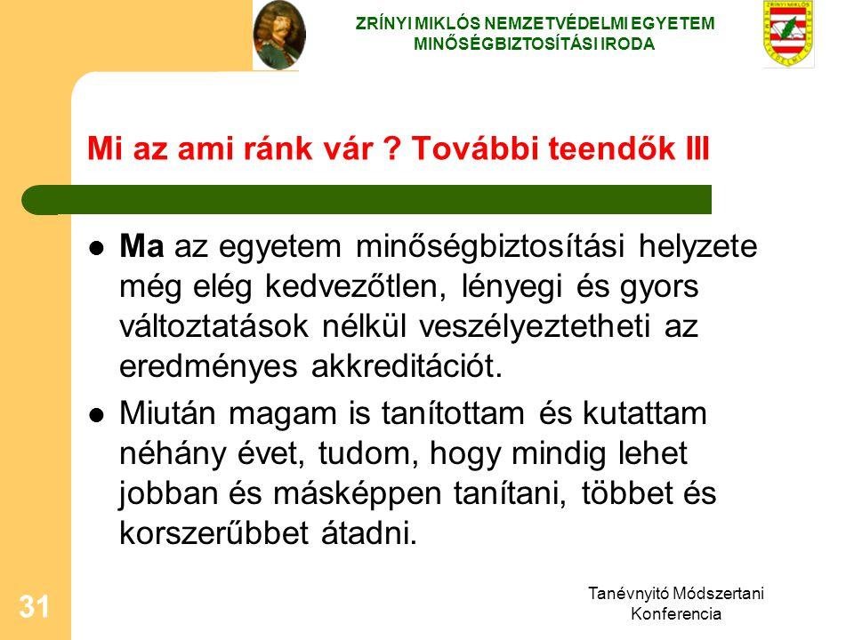 Tanévnyitó Módszertani Konferencia 31 Mi az ami ránk vár ? További teendők III Ma az egyetem minőségbiztosítási helyzete még elég kedvezőtlen, lényegi