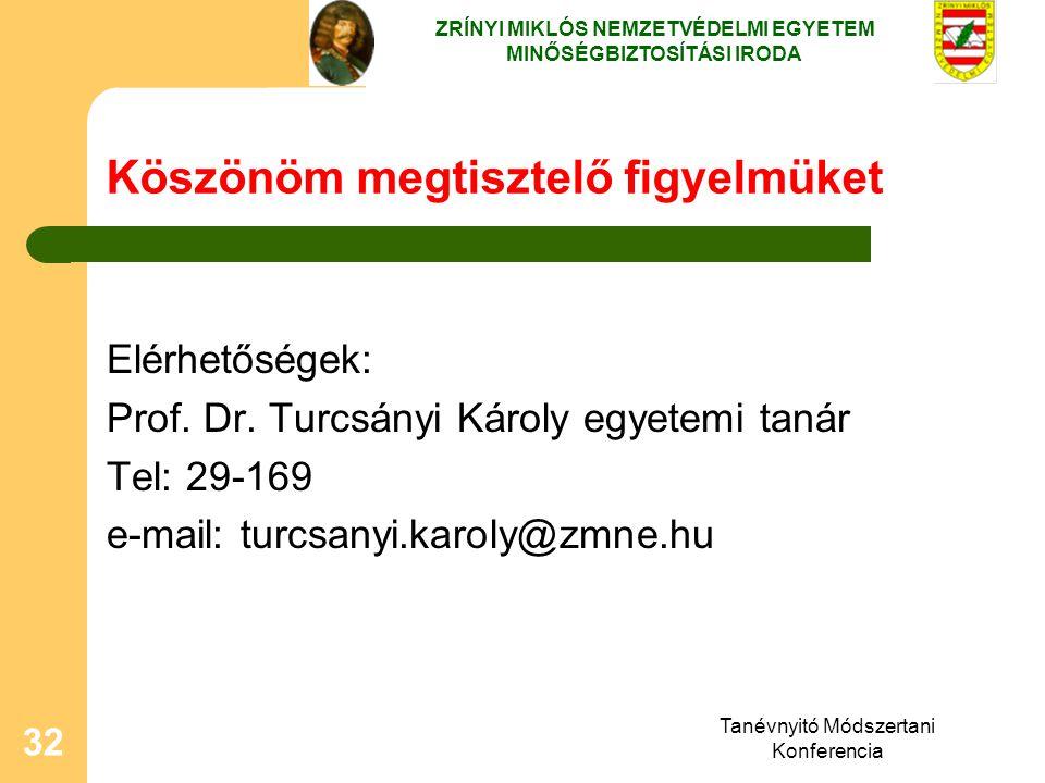 Tanévnyitó Módszertani Konferencia 32 Köszönöm megtisztelő figyelmüket Elérhetőségek: Prof. Dr. Turcsányi Károly egyetemi tanár Tel: 29-169 e-mail: tu