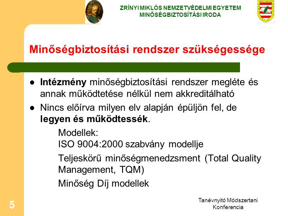 Tanévnyitó Módszertani Konferencia 5 Minőségbiztosítási rendszer szükségessége Intézmény minőségbiztosítási rendszer megléte és annak működtetése nélk