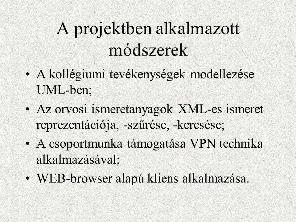A projektben alkalmazott módszerek A kollégiumi tevékenységek modellezése UML-ben; Az orvosi ismeretanyagok XML-es ismeret reprezentációja, -szűrése, -keresése; A csoportmunka támogatása VPN technika alkalmazásával; WEB-browser alapú kliens alkalmazása.