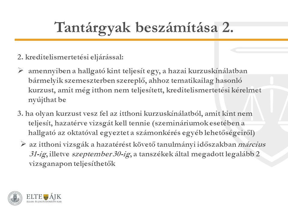 Tantárgyak beszámítása 2. 2.