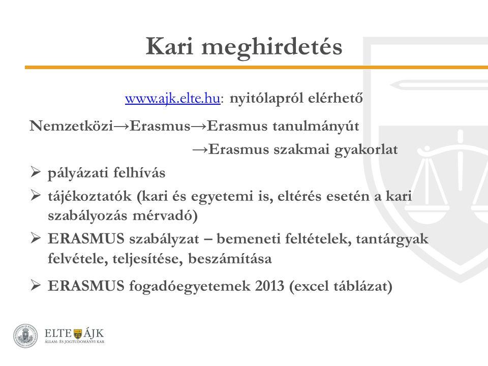 Kari meghirdetés www.ajk.elte.huwww.ajk.elte.hu: nyitólapról elérhető Nemzetközi→Erasmus→Erasmus tanulmányút →Erasmus szakmai gyakorlat  pályázati felhívás  tájékoztatók (kari és egyetemi is, eltérés esetén a kari szabályozás mérvadó)  ERASMUS szabályzat – bemeneti feltételek, tantárgyak felvétele, teljesítése, beszámítása  ERASMUS fogadóegyetemek 2013 (excel táblázat)