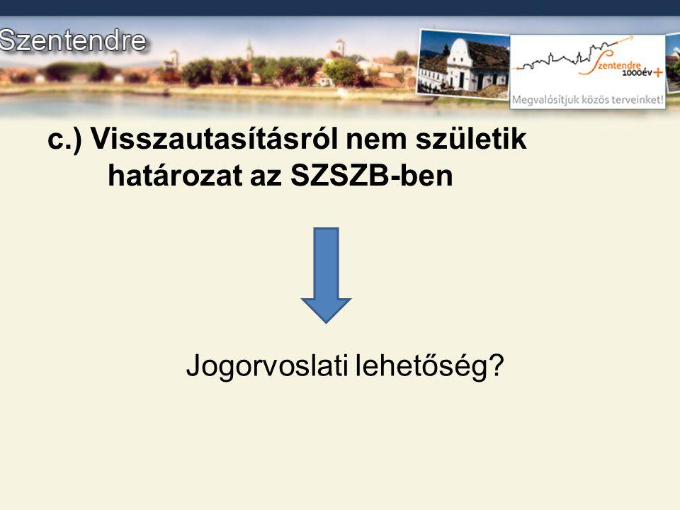 c.) Visszautasításról nem születik határozat az SZSZB-ben Jogorvoslati lehetőség?