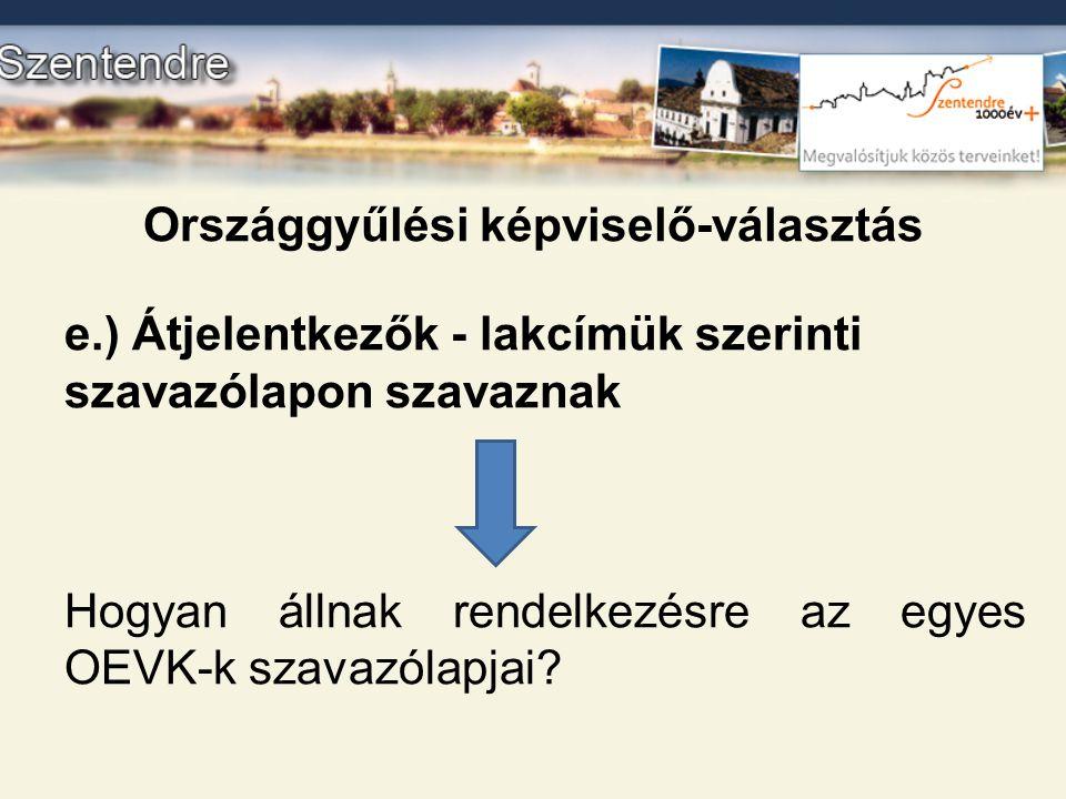 Országgyűlési képviselő-választás e.) Átjelentkezők - lakcímük szerinti szavazólapon szavaznak Hogyan állnak rendelkezésre az egyes OEVK-k szavazólapj