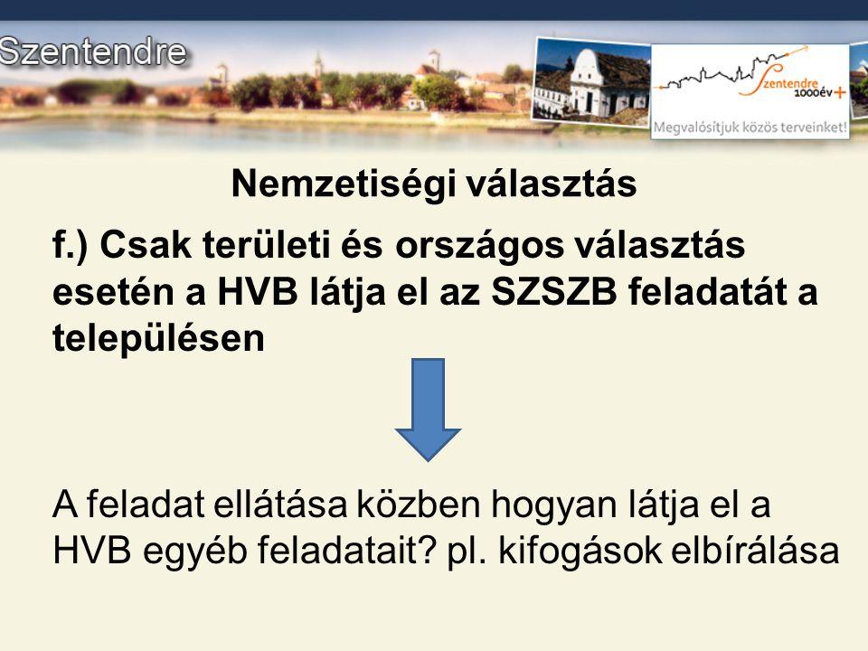 Nemzetiségi választás f.) Csak területi és országos választás esetén a HVB látja el az SZSZB feladatát a településen A feladat ellátása közben hogyan