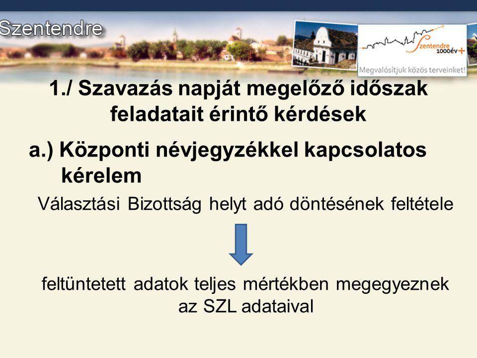 1./ Szavazás napját megelőző időszak feladatait érintő kérdések a.) Központi névjegyzékkel kapcsolatos kérelem Választási Bizottság helyt adó döntésén