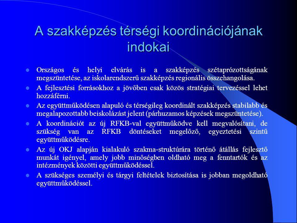 A szakképzés szervezeti keretei a régióban  Új RFKB felállása  Új TISZK-ek a régióban (4 )  Pannon Szakképzés Szervezési Társulás (Pécs, Baranya megye, Siklós, Bóly, Mohács)  Somogy megye  Tolna megye  FVM