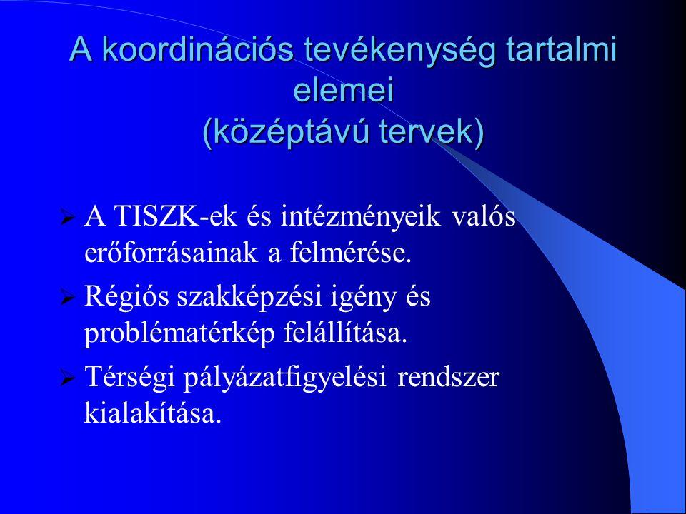 A koordinációs tevékenység tartalmi elemei (rövidtávú tervek)  A régióban létrejött TISZK-ek közötti rendszeres kapcsolattartás kialakítása.  Szakké