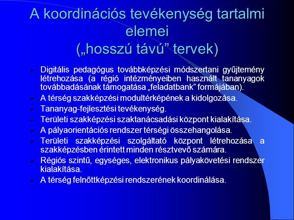 A koordinációs tevékenység tartalmi elemei (középtávú tervek)  A TISZK-ek és intézményeik valós erőforrásainak a felmérése.  Régiós szakképzési igén