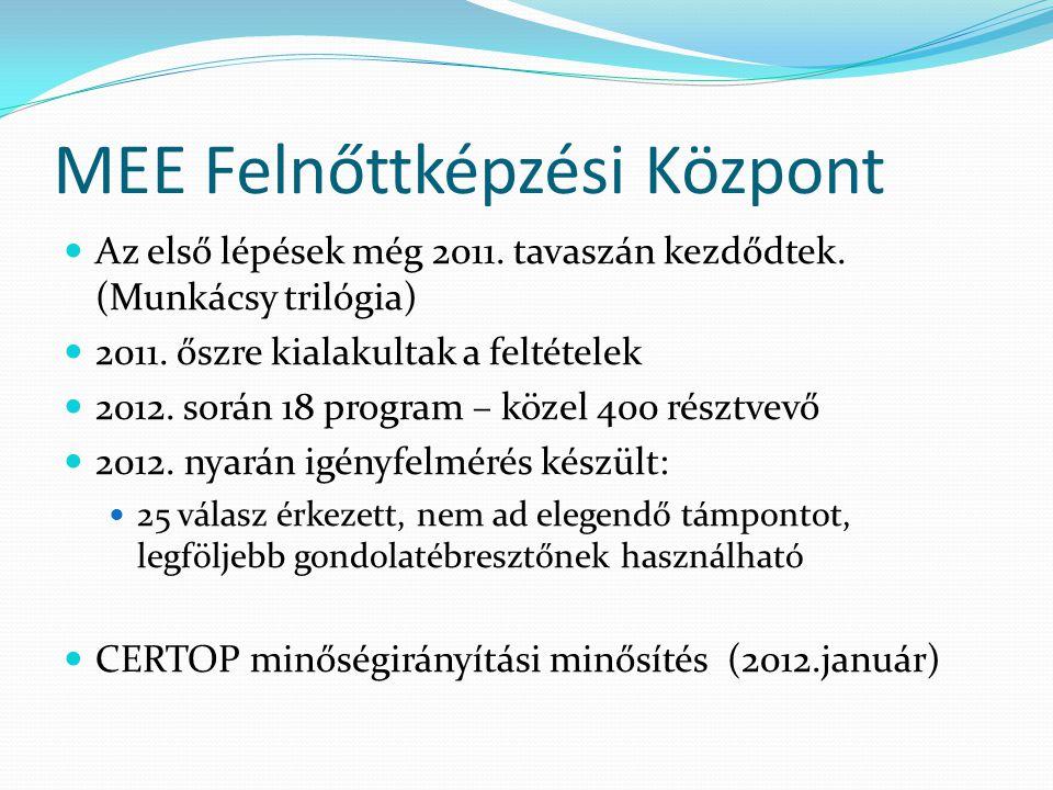 MEE Felnőttképzési Központ Az első lépések még 2011.