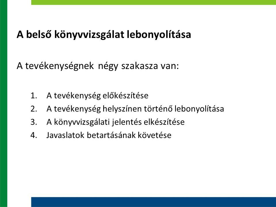 A belső könyvvizsgálat lebonyolítása A tevékenységnek négy szakasza van: 1.A tevékenység előkészítése 2.A tevékenység helyszínen történő lebonyolítása 3.A könyvvizsgálati jelentés elkészítése 4.Javaslatok betartásának követése