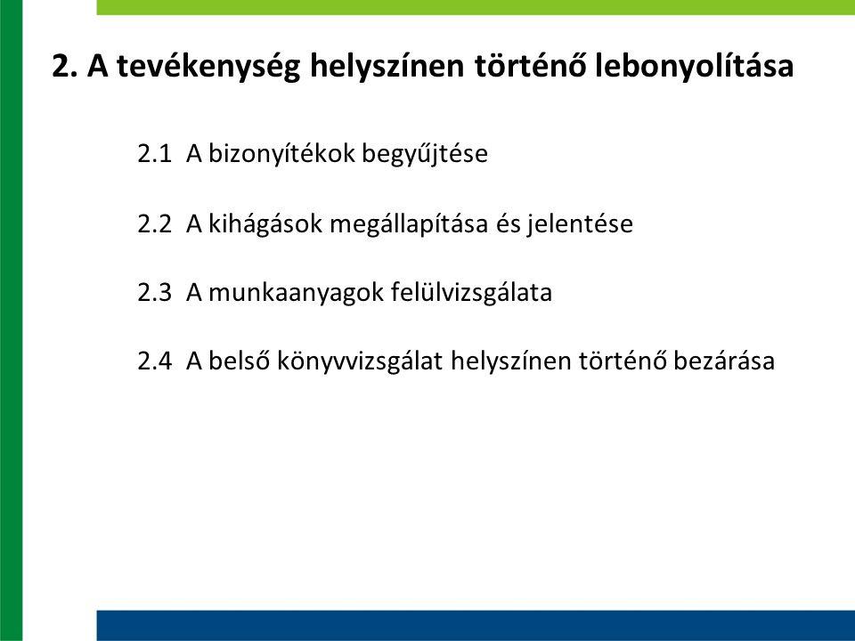 2. A tevékenység helyszínen történő lebonyolítása 2.1 A bizonyítékok begyűjtése 2.2 A kihágások megállapítása és jelentése 2.3 A munkaanyagok felülviz