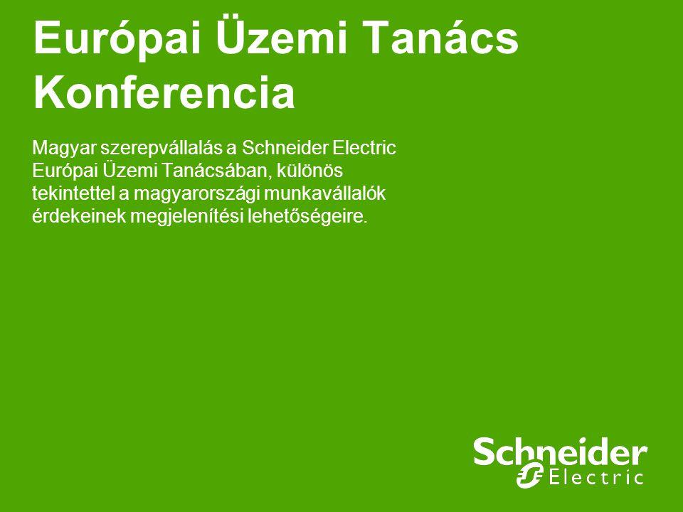 Európai Üzemi Tanács Konferencia Magyar szerepvállalás a Schneider Electric Európai Üzemi Tanácsában, különös tekintettel a magyarországi munkavállaló
