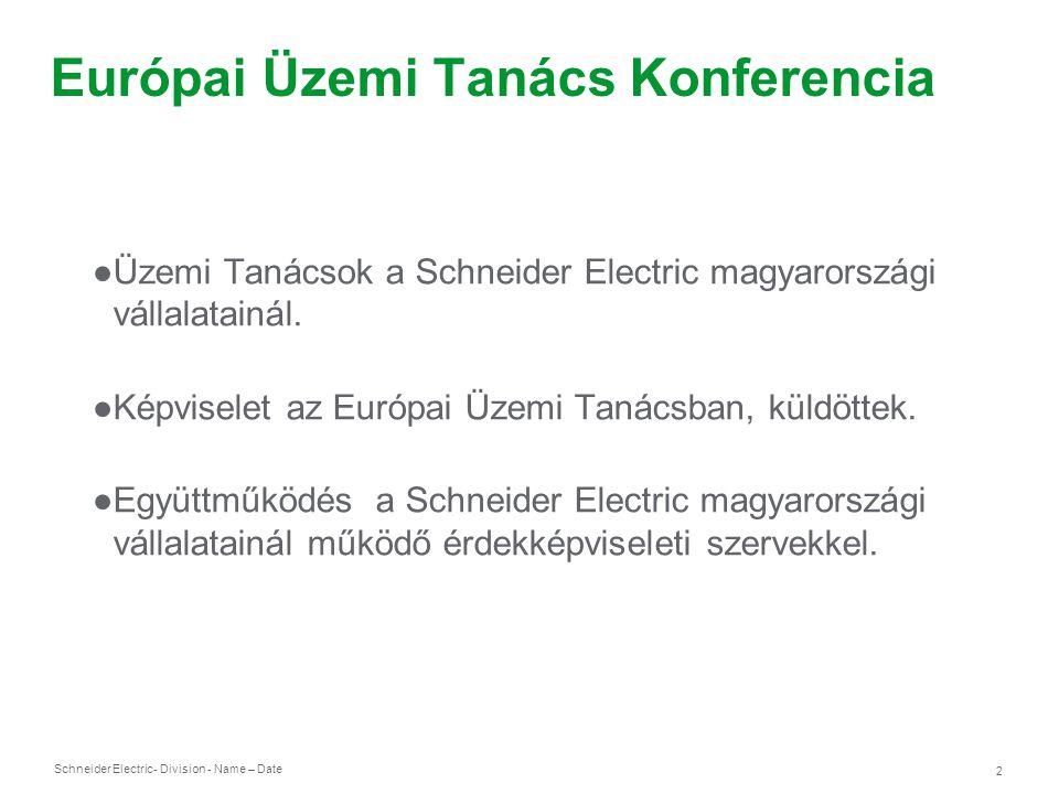 Schneider Electric 2 - Division - Name – Date Európai Üzemi Tanács Konferencia ●Üzemi Tanácsok a Schneider Electric magyarországi vállalatainál. ●Képv