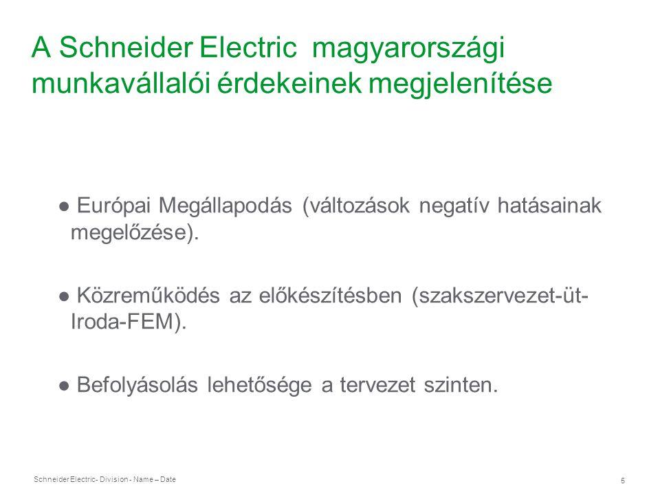 Schneider Electric 6 - Division - Name – Date A Schneider Electric magyarországi munkavállalói érdekeinek megjelenítése ● Európai megállapodás aláírása.
