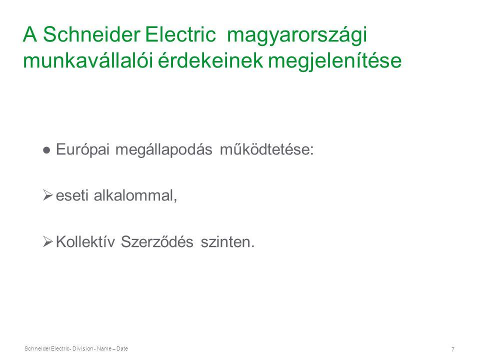 Schneider Electric 8 - Division - Name – Date A Schneider Electric magyarországi munkavállalói érdekeinek megjelenítése ● Együttműködés korlátai:  országonkénti eltérő törvények,  országonkénti eltérő gyakorlat,  kapcsolattartás korlátai.