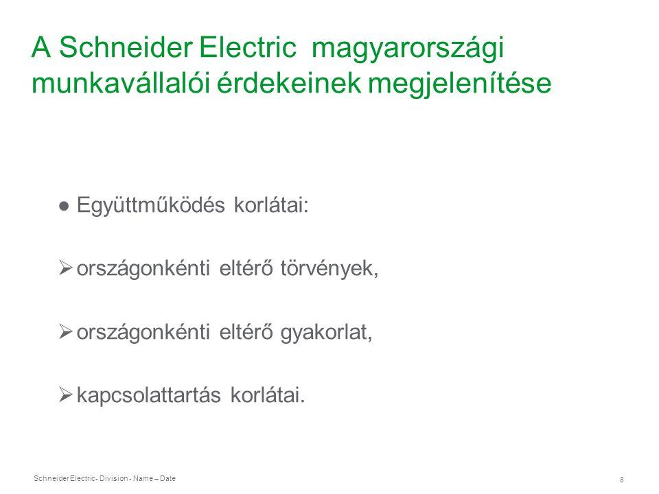Schneider Electric 8 - Division - Name – Date A Schneider Electric magyarországi munkavállalói érdekeinek megjelenítése ● Együttműködés korlátai:  or