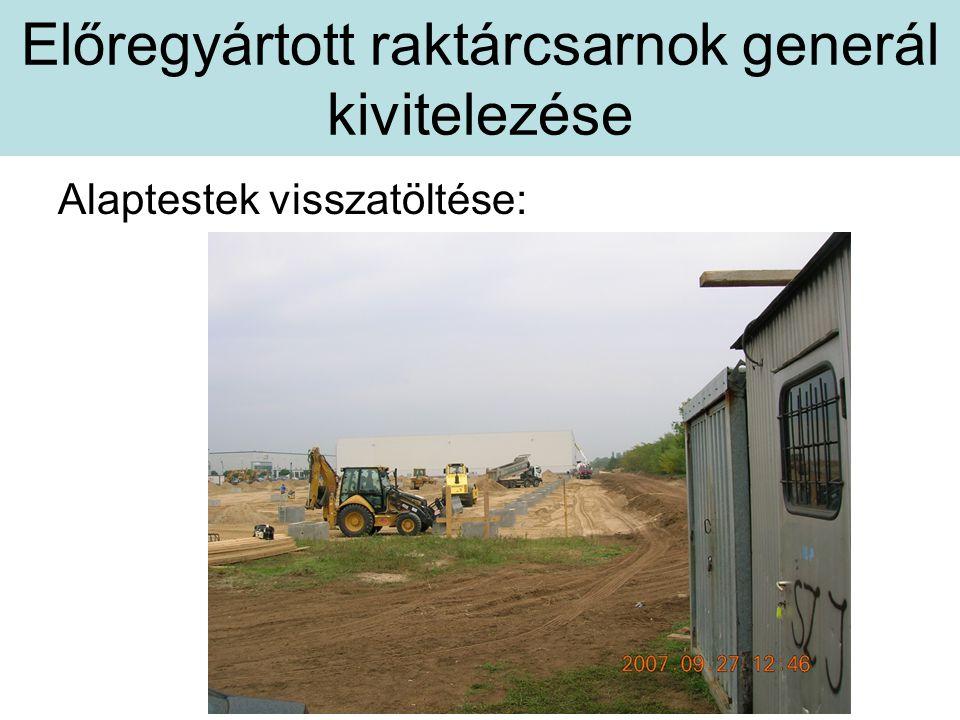 Előregyártott raktárcsarnok generál kivitelezése Alaptestek visszatöltése: