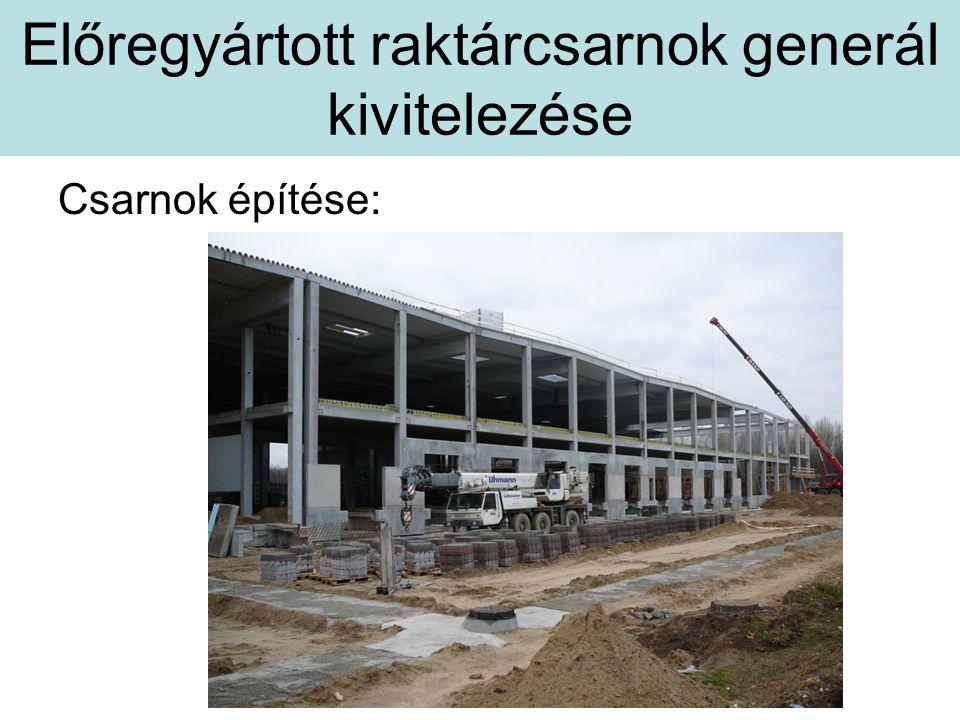 Előregyártott raktárcsarnok generál kivitelezése Csarnok építése: