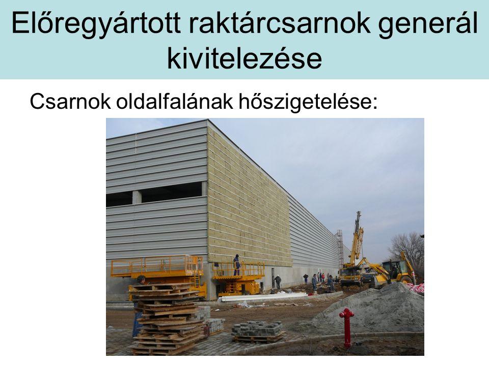 Előregyártott raktárcsarnok generál kivitelezése Csarnok oldalfalának hőszigetelése: