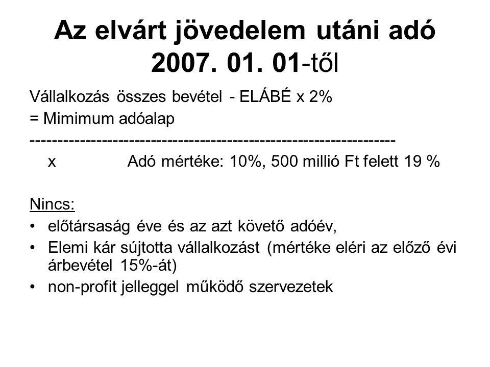 Az elvárt jövedelem utáni adó 2007. 01.