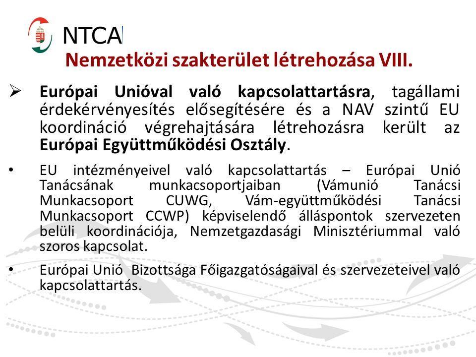 Nemzetközi szakterület létrehozása VIII.  Európai Unióval való kapcsolattartásra, tagállami érdekérvényesítés elősegítésére és a NAV szintű EU koordi
