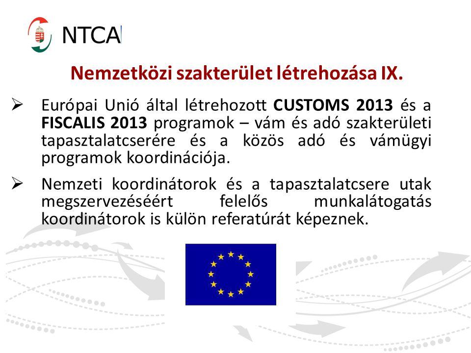  Európai Unió által létrehozott CUSTOMS 2013 és a FISCALIS 2013 programok – vám és adó szakterületi tapasztalatcserére és a közös adó és vámügyi prog
