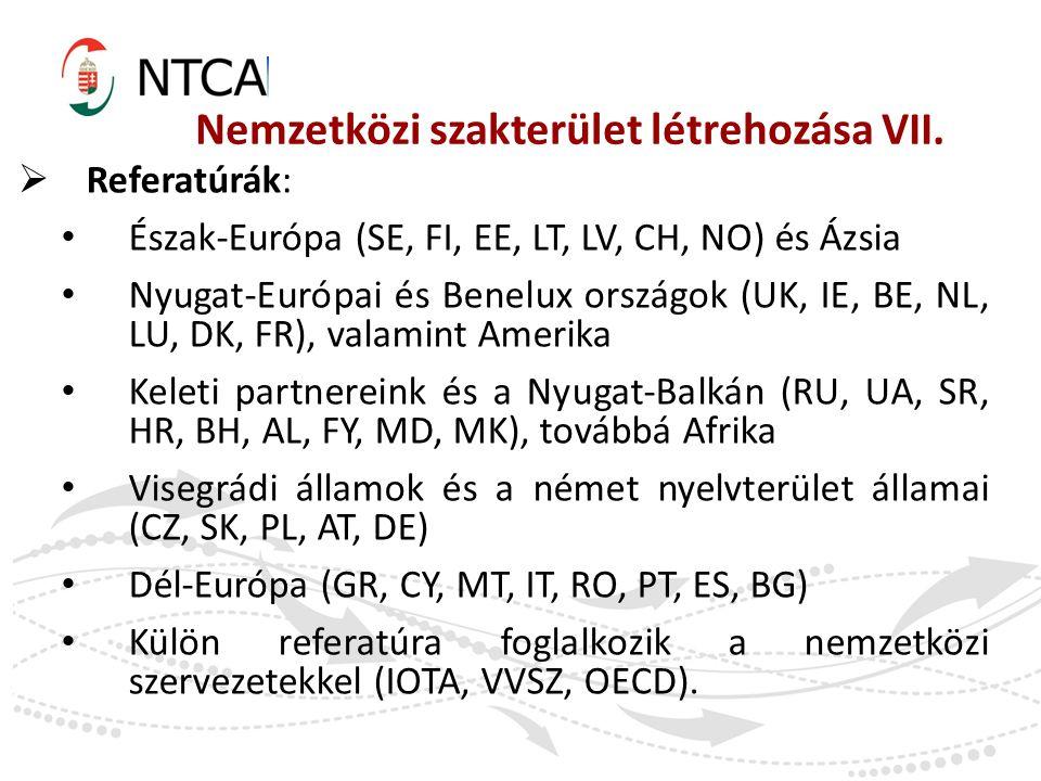 Nemzetközi szakterület létrehozása VII.  Referatúrák: Észak-Európa (SE, FI, EE, LT, LV, CH, NO) és Ázsia Nyugat-Európai és Benelux országok (UK, IE,
