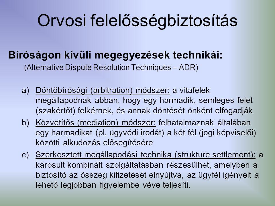 Orvosi felelősségbiztosítás Bíróságon kívüli megegyezések technikái: (Alternative Dispute Resolution Techniques – ADR) a)Döntőbírósági (arbitration) m