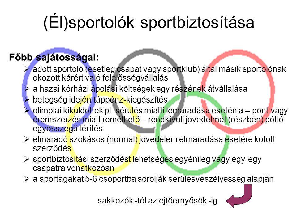 (Él)sportolók sportbiztosítása Főbb sajátosságai:  adott sportoló (esetleg csapat vagy sportklub) által másik sportolónak okozott kárért való felelős