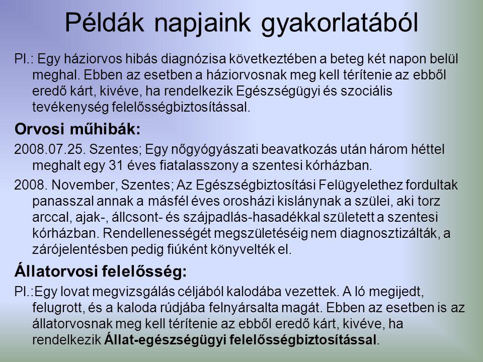 Példák napjaink gyakorlatából Pl.: Egy háziorvos hibás diagnózisa következtében a beteg két napon belül meghal. Ebben az esetben a háziorvosnak meg ke
