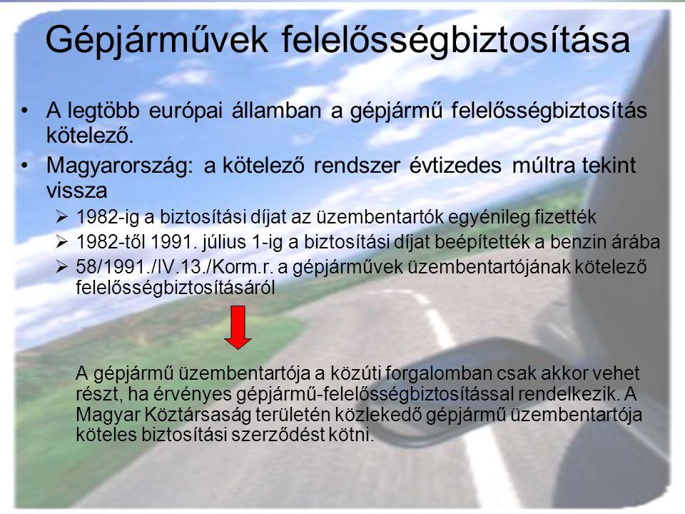 Gépjárművek felelősségbiztosítása A legtöbb európai államban a gépjármű felelősségbiztosítás kötelező. Magyarország: a kötelező rendszer évtizedes múl