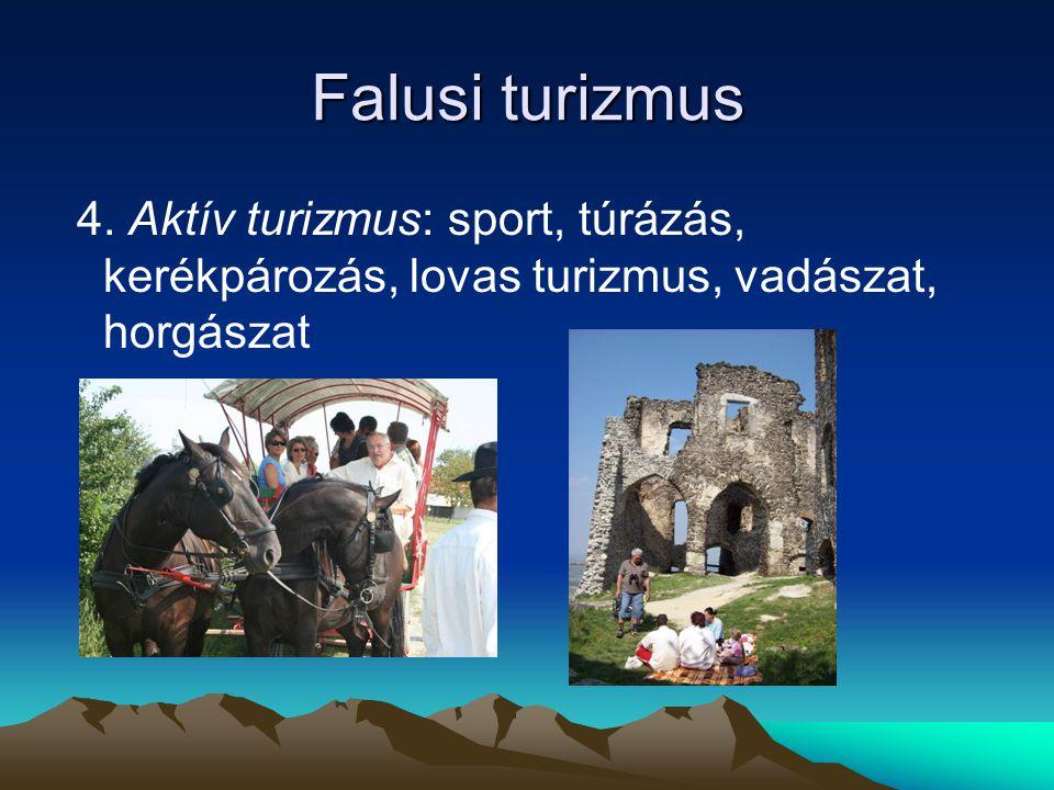 Falusi turizmus 4. Aktív turizmus: sport, túrázás, kerékpározás, lovas turizmus, vadászat, horgászat
