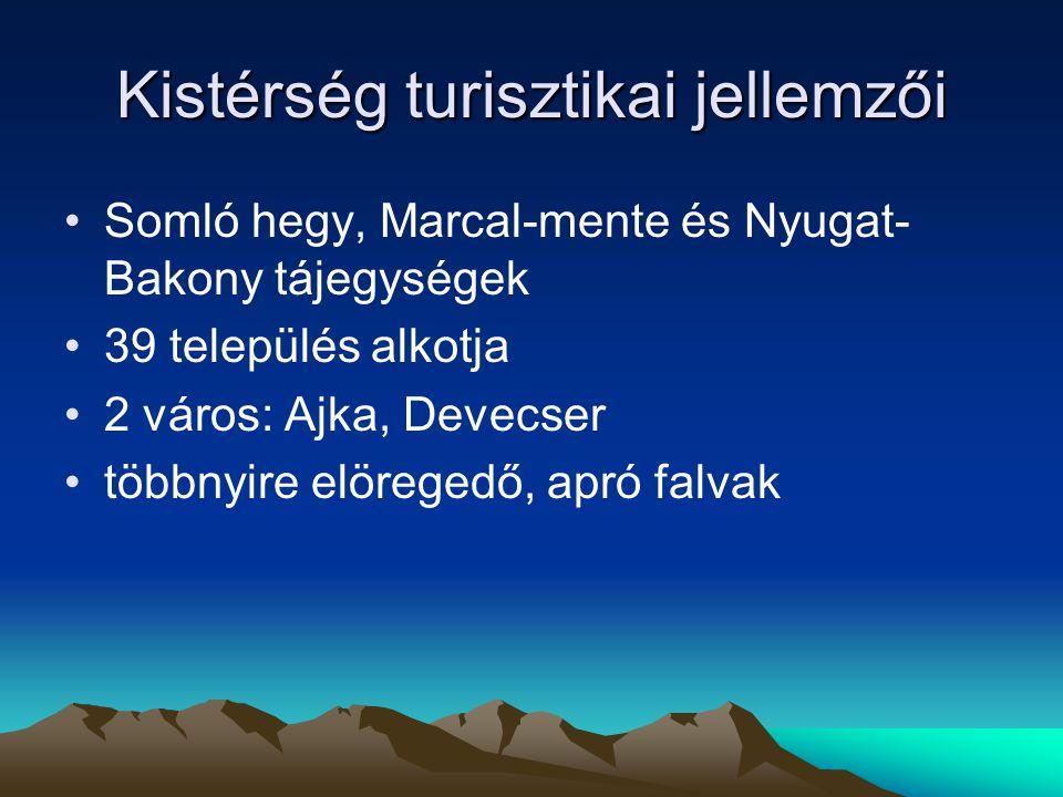 Kistérség turisztikai jellemzői Somló hegy, Marcal-mente és Nyugat- Bakony tájegységek 39 település alkotja 2 város: Ajka, Devecser többnyire elöregedő, apró falvak