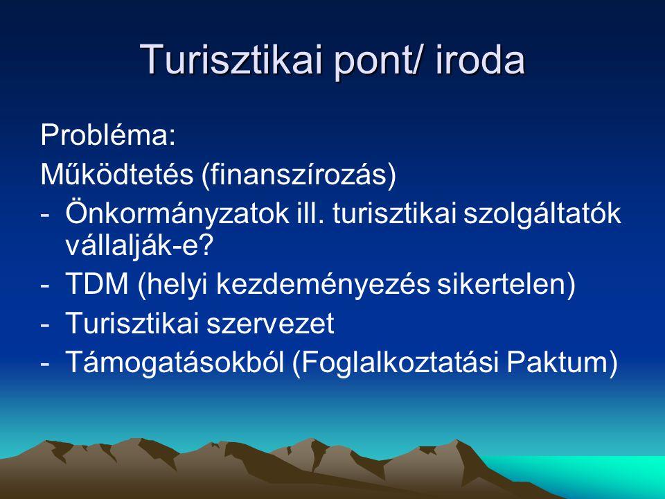 Turisztikai pont/ iroda Probléma: Működtetés (finanszírozás) -Önkormányzatok ill. turisztikai szolgáltatók vállalják-e? -TDM (helyi kezdeményezés sike