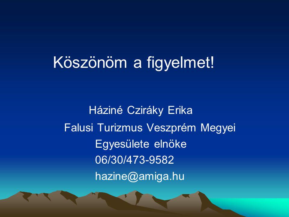 Köszönöm a figyelmet! Háziné Cziráky Erika Falusi Turizmus Veszprém Megyei Egyesülete elnöke 06/30/473-9582 hazine@amiga.hu
