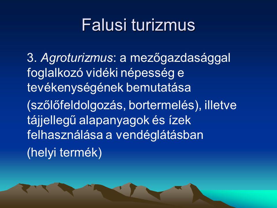 Falusi turizmus 3. Agroturizmus: a mezőgazdasággal foglalkozó vidéki népesség e tevékenységének bemutatása (szőlőfeldolgozás, bortermelés), illetve tá