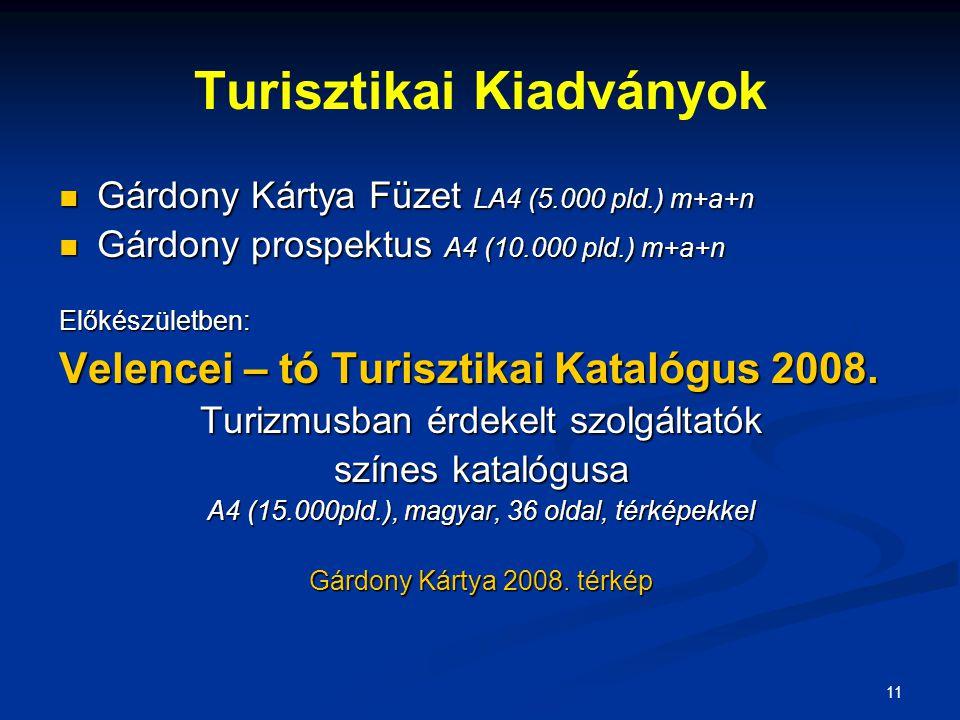 11 Turisztikai Kiadványok Gárdony Kártya Füzet LA4 (5.000 pld.) m+a+n Gárdony Kártya Füzet LA4 (5.000 pld.) m+a+n Gárdony prospektus A4 (10.000 pld.) m+a+n Gárdony prospektus A4 (10.000 pld.) m+a+nElőkészületben: Velencei – tó Turisztikai Katalógus 2008.