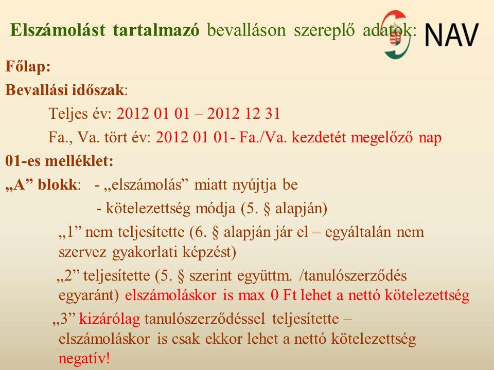 Elszámolást tartalmazó bevalláson szereplő adatok: Főlap: Bevallási időszak: Teljes év: 2012 01 01 – 2012 12 31 Fa., Va. tört év: 2012 01 01- Fa./Va.