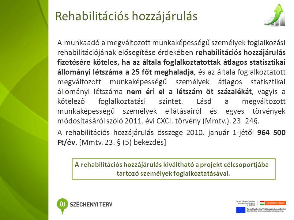 Rehabilitációs hozzájárulás A munkaadó a megváltozott munkaképességű személyek foglalkozási rehabilitációjának elősegítése érdekében rehabilitációs hozzájárulás fizetésére köteles, ha az általa foglalkoztatottak átlagos statisztikai állományi létszáma a 25 főt meghaladja, és az általa foglalkoztatott megváltozott munkaképességű személyek átlagos statisztikai állományi létszáma nem éri el a létszám öt százalékát, vagyis a kötelező foglalkoztatási szintet.