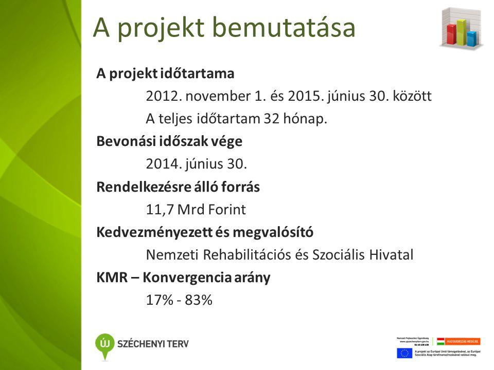 Indikátorok Előkészítő szakasz 13 000 fő megszólítása Projektben együttműködő személyek 10 000 fő bevonása 2014.